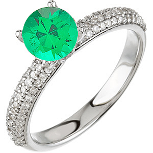 Quality 5.00 mm .5ct Round Cut Vivid Green Genuine Emerald set in Pave Diamond Ring for SALE