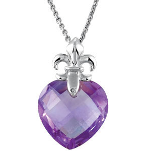 Gorgeous 6ct 13mm Amethyst Heart with Fleur De Lis Design Pendant expertly set in Sterling Silver for SALE - FREE Chain Included