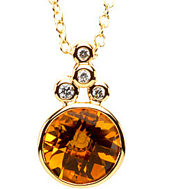 Gorgeous 8mm 1.84ct Citrine & Diamond Necklace set in 14 karat Yellow Gold - Free Chain