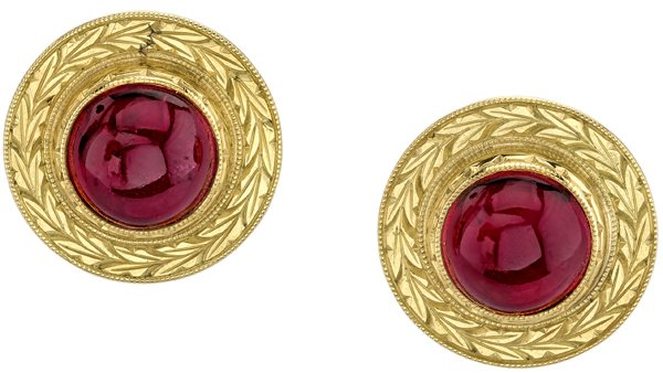 Gorgeous Bezel Set 10mm Round Cabochon Pink Tourmaline Button Earrings With Ornate 18kt Yellow Gold Frame