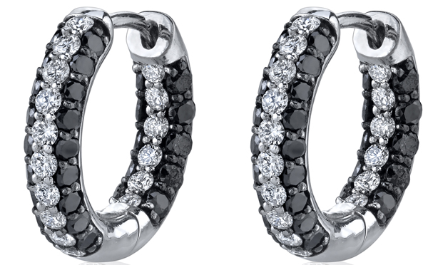 Gorgeous Black (1.33ctw) & White (0.63ctw) Diamond Hoop Earrings in 18kt White Gold