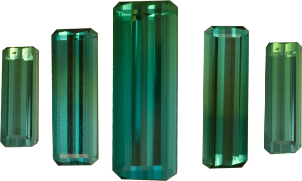 Gorgeous Blue Green Tourmaline 5 Piece Suite in Octagon German Cut 15.0 x 5.0 mm, 13.0 x 4.0 mm, 10.0 x 4.0 mm, 8.37 carats