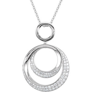 Gorgeous Circle Motif Pendant with Inset .63ct Diamond Accents in 14k White Gold for SALE - FREE Chain Included