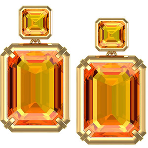 Gorgeous Enormous 16x12mm 23.46ct Fine Citrine Earrings in 14 karat Gold Featuring Two Step Style Citrine Gems