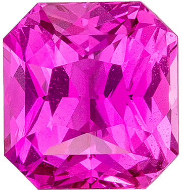 Gorgeous GIA Certified Pink Sapphire Genuine Gemstone, Radiant Cut, Rich Hot Pink, 6.61 x 6.14 x 4.38 mm, 1.7 carats