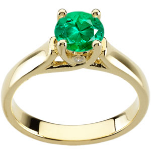 Quality Green 1 carat Vibrant GEM 6mm Emerald Woven Prong Solitaire Engagement Ring - Bezel Set Diamond Accents