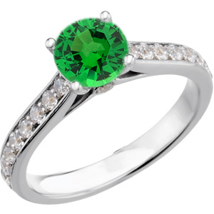 Quality Green Genuine 1 carat 6mm Tsavorite Garnet Round Solitaire Engagement Ring With Inset Diamond Accents in Band