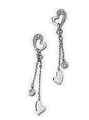 Gorgeous Heart Motif Dangle Earrings with Diamond Accents in 14k White Gold - .1 cts - SOLD