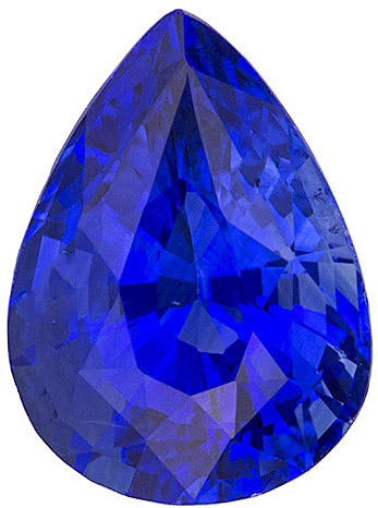 Gorgeous Intense Rich Blue Sapphire for SALE, 10.6 x 7.8 mm, Pear Cut, 3.57 carats