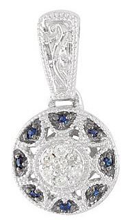Gorgeous Medallion Style .14ct 1mm Blue Sapphire and 14k White Gold Fancy Pendant for SALE - FREE Chain With Pendant