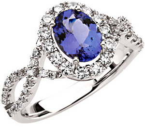 Gorgeous Most Popular 1.25ct 8x6mm Oval Cut Tanzanite & Diamond Ring - Dazzling Twisted Diamond Band