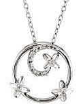 Gorgeous Open Circle Shape Sterling Silver Pendant With Frolicking Butterflies - .07ct Diamond Accents - FREE Chain Included With Pendant