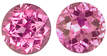 Gorgeous Pair of Shining Pink Sapphire Genuine Gemstones for SALE, Round Cut, 2.68 carats