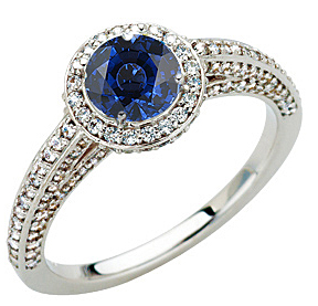 Quality Pave Diamond & GEM Grade 5.50mm Blue Sapphire Stone Engagement Ring for SALE