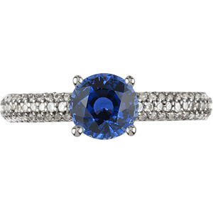 Gorgeous Pave Diamond Ring Featuring Breathtaking Genuine 5mm Blue Sapphire GEM