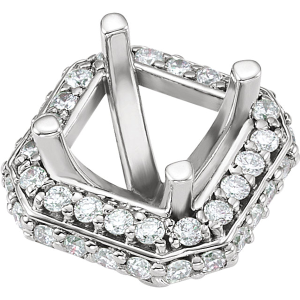 Gorgeous Pre-Set Halo Accented Peg Jewelry Finding for Square  Gemstone Size 4.50mm - 5.50mm - Customize Metal Type