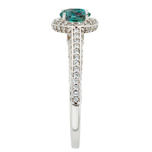 Gorgeous Real Round 0.70 carat Alexandrite Gemstone set in Classic Diamond Pave Ring in 14 kt white gold for SALE