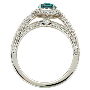 Quality Real Round 0.70 carat Alexandrite Gemstone set in Classic Diamond Pave Ring in 14 kt white gold for SALE