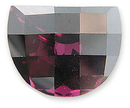 Gorgeous Red Pink Raspberry Rhodolite Garnet Gemstone for SALE, Half-Moon Cut, 23.98 carats