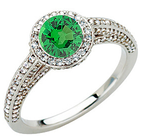 Gorgeous Round Cut .8ct 5.5mm Tsavorite Garnet GEM Grade Mounted in Heavy 1.45 carat Diamond Ring