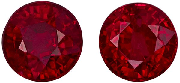 Gorgeous Round Cut Ruby Well Matched Pair, Open Rich Red, 4.9 mm, 1.79 carats