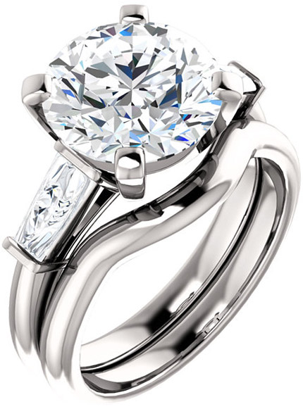 Gorgeous Round Gem Engagement Ring With Tapered Baguette Side Gems - For Shape Centergems Size 4.10 mm to 10.00 mm- Customize Metal, Accents or Gem Type
