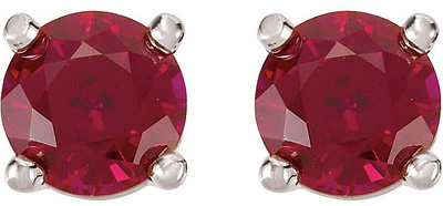 Gorgeous Round Ruby GEM Grade Chatham Gemstone July Stud Birthstone Earrings for SALE - 14kt White or Yellow Gold