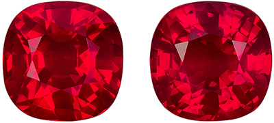 Gorgeous Ruby Cushion Cut Well Matched Gemstone Pair, Rich Pigeons Blood, 5.9 mm, 2.1 carats