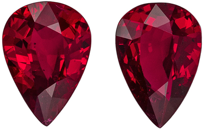 Gorgeous Ruby Well Matched Gemstone Pair, Vivid Pigeons Blood Red, Pear Cut, 6.9 x 4.9 mm, 1.41 carats