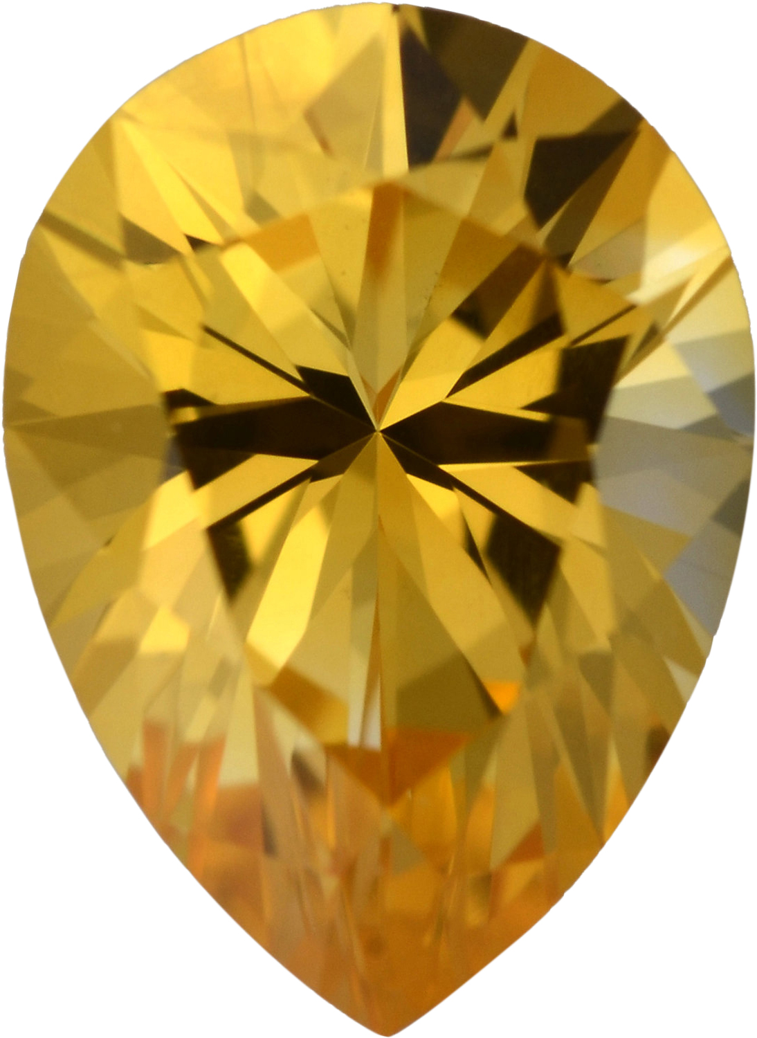 Gorgeous Sapphire Loose Gem in Pear Cut, Light Orangy Yellow, 7.71 x 5.64  mm, 1.13 Carats