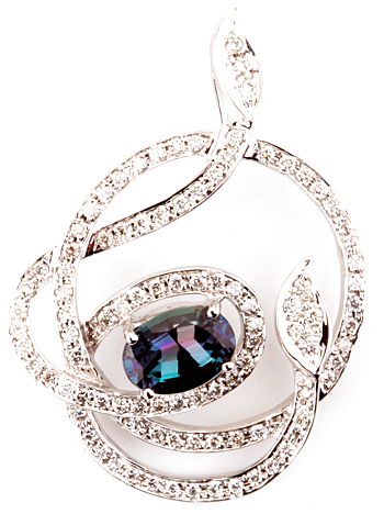 Quality Spiraling Diamond Design Pendant With Amazing Brazilian Alexandrite Gemstone - 14k White Gold - 0.88 carats, 7.09 x 4.85 mm
