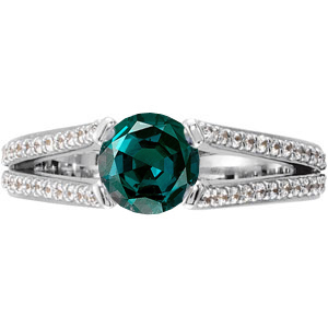 Gorgeous Split Shank 4-Prong Genuine Gemstone Engagement Ring - Diamond Accents Along Bands - SOLD