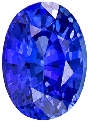 Gorgeous Stone in 0.98 carats Sapphire Loose Gemstone in Oval Cut, Intense Blue, 6.8 x 4.9 mm