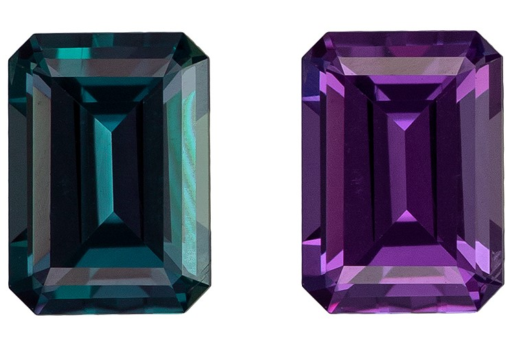 Gorgeous Stone in 4.7 x 3.4 mm Alexandrite Loose Gemstone in Emerald Cut, Rich Teal to Burgundy Eggplant, 0.38 carats