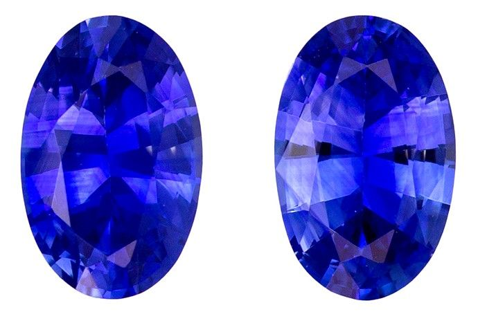 Gorgeous Stone in 5.8 x 3.7 mm Sapphire Loose Gemstone Pair in Oval Cut, Vivid Blue, 0.92 carats
