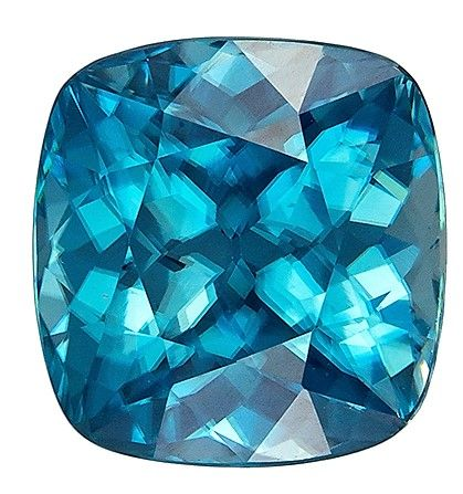 Gorgeous Stone in 8.1 x 7.8 mm Zircon Loose Genuine Gemstone in Cushion Cut, Teal Blue, 3.88 carats