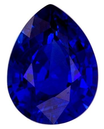 Gorgeous Stone in 8.3 x 6.4 mm Sapphire Loose Gemstone in Pear Cut, Medium Blue, 1.59 carats