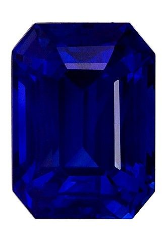 Gorgeous Stone in 8.7 x 6.4 mm Sapphire Genuine Gemstone in Emerald Cut, Vivid Blue, 3.03 carats