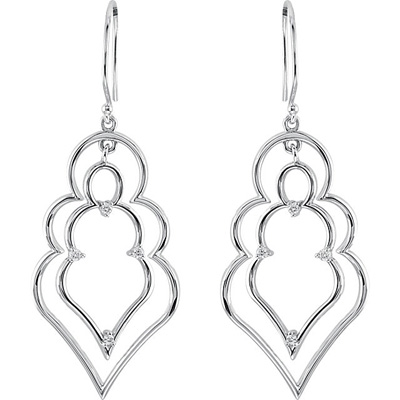 Gorgeous Suspension Style Wire Back Dangle Earrings in Sterling Silver With Diamond Accents- .125 cts, 1.50 mm stones