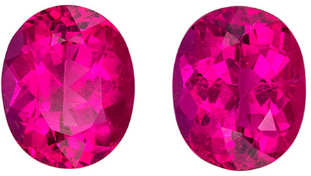 Rubellite Tourmaline Earrings Gemstone Pair in Vivid Fuchsia Color in an Oval Cut, 9.5 x 7.6 mm, 5.05 carats