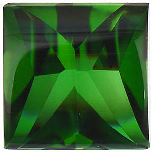 Grade AAA - Buff Top Bottom Faceted Square Genuine Green Tourmaline 4.00 mm to 6.00 mm