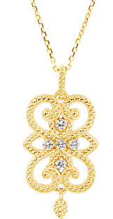 Granulated Dangle Pendant in Etruscan Style With .11ct Diamond Accents for SALE - Metal Type Options - FREE Chain Included With Pendant