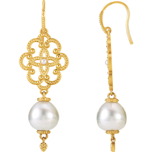 Granulated Design South Sea Cultured Pearl Earrings