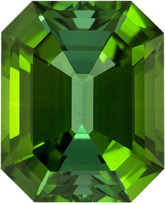Grass Green Tourmaline Loose Gem in Emerald Cut, Rich Grass Green Color in 11.9 x 9.7 mm, 6.47 Carats