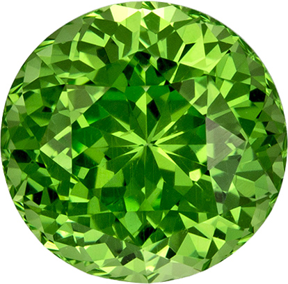 Grass Green Tsavorite Garnet Genuine Gem in Round Cut, 6.2 mm, 1.31 Carats