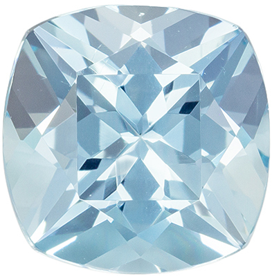 Great Aquamarine Genuine Gemstone, Cushion Cut, Medium Sky Blue, 7.9 x 7.8 mm, 1.95 carats