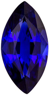 Great Blue Sapphire Genuine Gemstone, 9 x 4.6 mm, Vivid Rich Blue, Marquise Cut, 0.98 carats