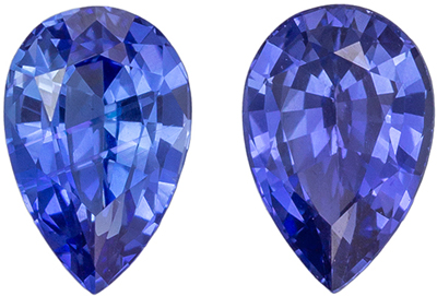 Great Blue Sapphire Well Matched Pair, 6 x 4 mm, Vivid Rich Blue, Pear Cut, 1.06 carats