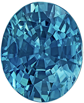 Great Blue Zircon Loose Gem in Oval Cut, 5.22 carats, Vivid Teal Blue, 10.7 x 8.8 mm