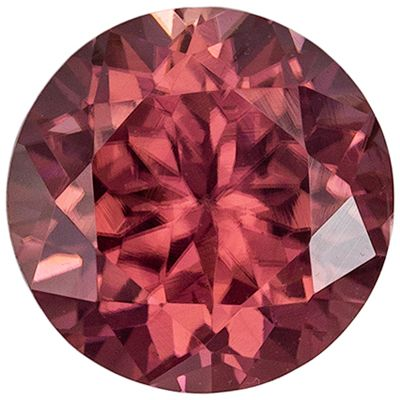 Great Brown Zircon Round Cut Genuine Gem, Rosey Copper, 6.5 mm, 1.77 carats